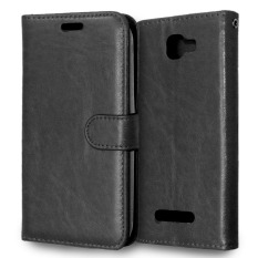 PU Leather Flip Stand Case Wallet Cover for Alcatel One Touch Fierce 2 7040T (Black)