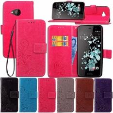 PU Kulit Flip Dompet dengan Slot dan Kickstand untuk HTC U Play-Intl
