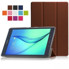 PU Leather Hard Shell Multi-angle Stand Auto Sleep Wake Magnetic Smart Cover untuk Samsung Galaxy Tab A 9.7 SM-T550 9.7 Inci Tablet Case (Brown) -Intl