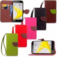 PU Kulit Leaf Magnetic Dompet Stand Dompet Flip Case Cover untuk HTC 10 EVO (Bolt)-Intl