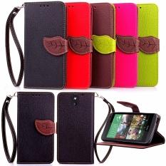 PU Kulit Daun Berbentuk Dompet Magnetik Stand Dompet Flip Case Cover untuk HTC Desire 610-Intl