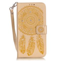 PU Kulit Mewah 3D Fashion Kristal Kelap-kelip Buatan Tangan Berlian Imitasi Stand Kartu Kredit ID Pemegang Flip Pelindung Dompet untuk Samsung Galaxy S6 Edge (Emas) -Intl