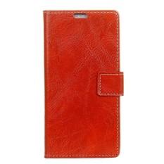 Gaya Retro Kulit PU Tempat Dompet Casing untuk Alcatel A7 XL (Merah)-Intl