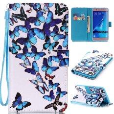 PU Leather Stand Dompet Flip Folio dengan ID Kartu Kredit Slot Kas Cover untuk Samsung Galaxy J710 2016 (butterfly) -Intl