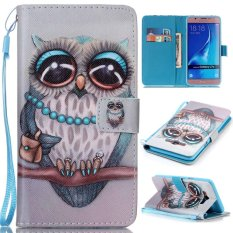 PU Leather Stand Dompet Flip Folio dengan ID Kartu Kredit Slot Kas Cover untuk Samsung Galaxy J710 2016 (owl) -Intl