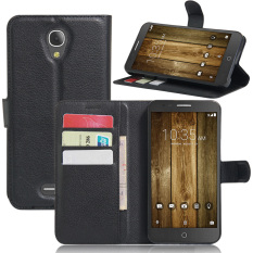 PU Kulit Dompet Case Cover untuk Alcatel Fierce 4/Alcatel One Touch POP 4 Plus (Hitam) -Intl