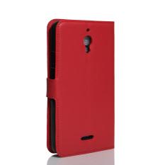 PU Kulit Dompet Case Cover untuk Alcatel One Touch Pixi 4 (6) 6.0 Inch 4g Version (Merah)-Intl