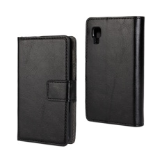 PU Leather Wallet Case Cover for LG Optimus L4 II(Black)