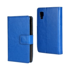 PU Leather Wallet Case Cover for LG Optimus L4 II(Dark Blue)