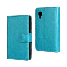 PU Leather Wallet Case Cover for LG Optimus L4 II(Light Blue)