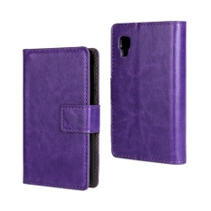 PU Leather Wallet Case Cover for LG Optimus L4 II(Purple)