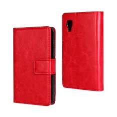 PU Leather Wallet Case Cover for LG Optimus L4 II(Red)
