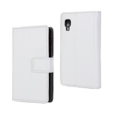 PU Leather Wallet Case Cover for LG Optimus L4 II(White)