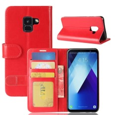PU Leather Wallet Case Cover for Samsung Galaxy A7 2018 (Red)