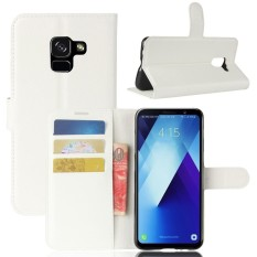 PU Leather Wallet Case Cover for Samsung Galaxy A7 2018 (White)