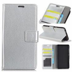 PU Leather Wallet Case Cover for Samsung Galaxy J7 Plus / Galaxy C7 2017 (Silver)