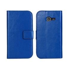 PU Dompet Kulit Case Cover untuk Samsung Tren Duo Galaksi II S7572 (Biru Tua)-Intl