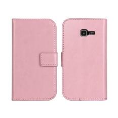 PU Dompet Kulit Case Cover untuk Samsung Tren Duo Galaksi II S7572 (Merah Muda)-Intl
