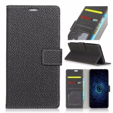 PU Leather Woven Pola Dompet Case Cover untuk Alcatel One Touch Idol 5 S 5.2 (Hitam)-Intl