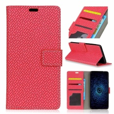 PU Leather Woven Pola Dompet Case Cover untuk Alcatel One Touch Idol 5 S 5.2 (Merah)-Intl