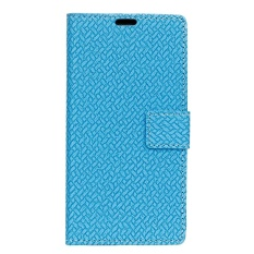 PU Leather Woven Pattern Wallet Case Cover for Sharp Android One X1 (Blue) - intl