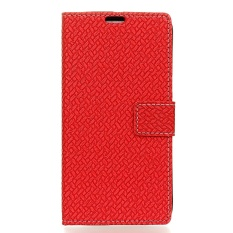 PU Leather Woven Pattern Wallet Case Cover for Sharp Android One X1 (Red) - intl