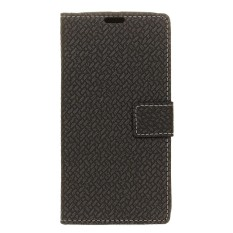 PU Leather Woven Pattern Wallet Case Cover for Sharp Aquos R Compact SHV41 (Black) - intl