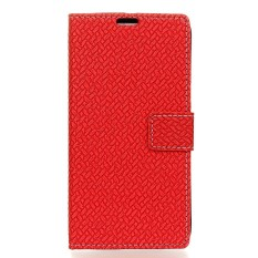 PU Leather Woven Pattern Wallet Case Cover for Sharp Aquos Sense SHV40 SH-01K (Red) - intl