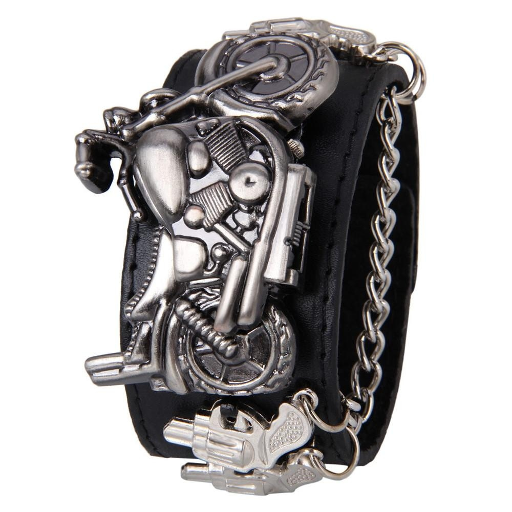 Jual Punk Rock Chain Skull Women Men Bracelet Cuff Gothic Wrist Watch Intl Online