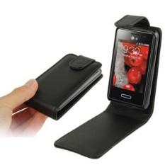 Pure Color Vertical Flip Leather Case for LG Optimus L3 II / E430 (Black) - intl