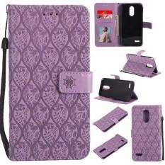 Purple 3D Relief Flower Leather Flip Case For LG Stylus 3/Stylo 3 - intl