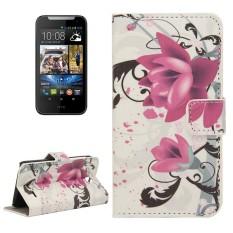 Ungu Bunga Pola Horizontal Flip Magnetic Buckle Leather Case dengan Pemegang dan Slot Kartu dan Dompet untuk HTC Desire 310 -Intl