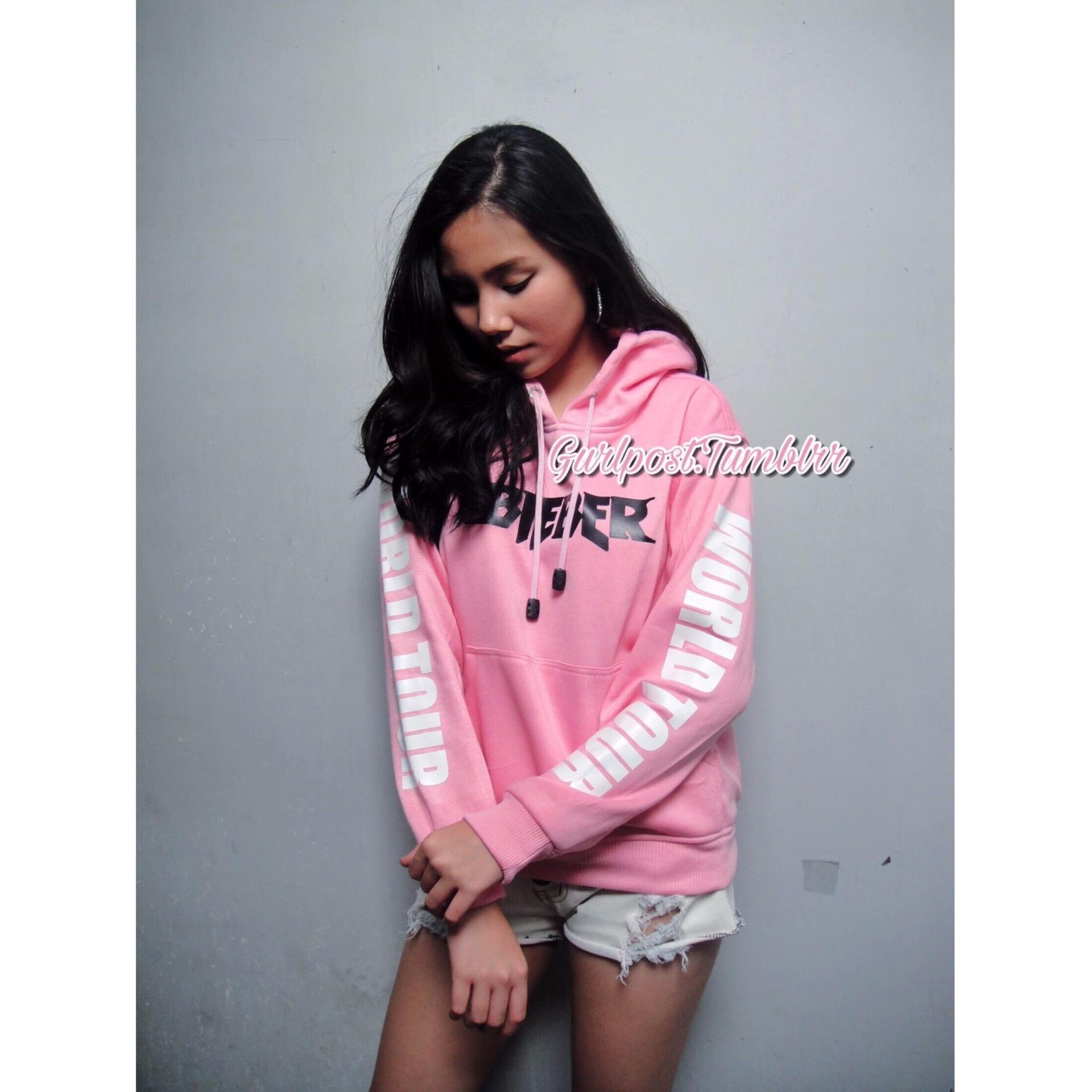 Jual Purpose Tour Hoodie Pink Cewek Gurlpost Tumblrr Branded