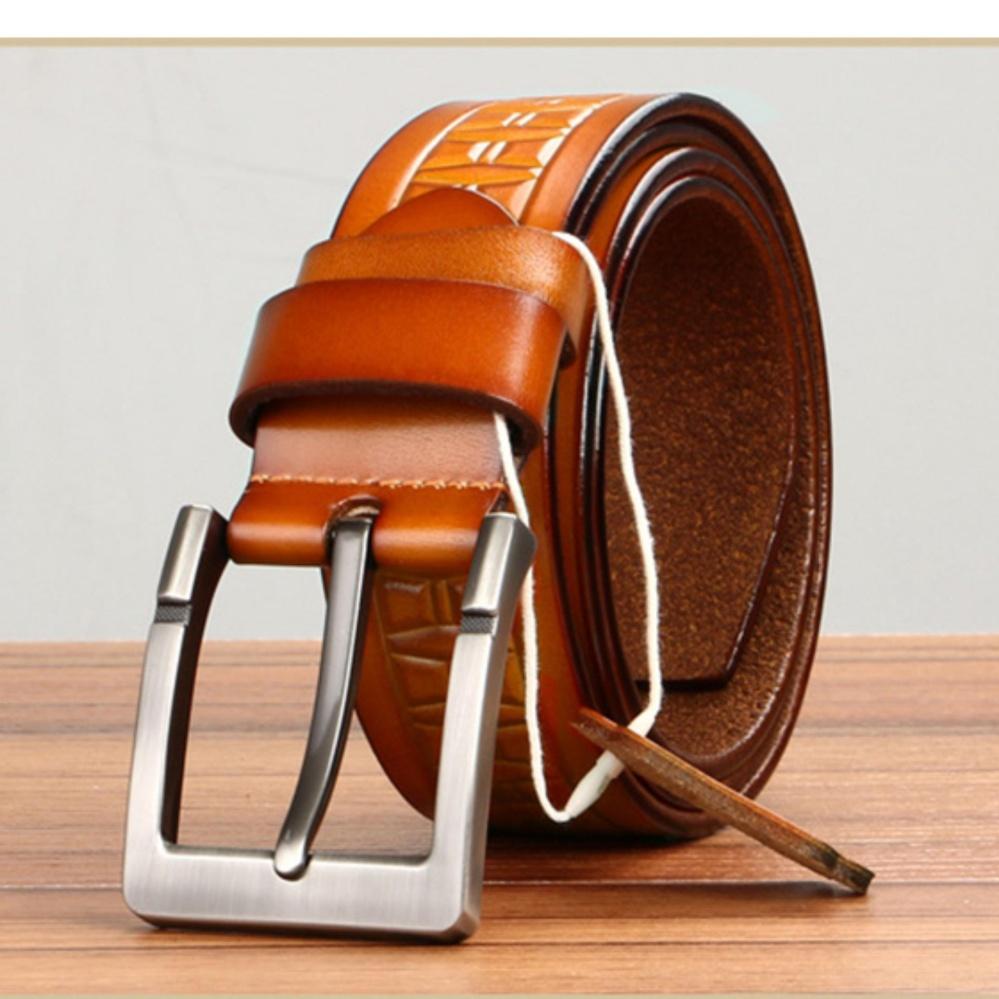 Beli Q Shop Asli Kulit Sapi Belt Jarum Buckle Belt Untuk Pria Ukuran 120 Cm 47 Inch Orange Intl Kredit