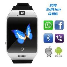 Q18S Bluetooth Smart Watch Mendukung NFC SIM GSM Kamera Video Electronics Kesehatan Montre Connecter untuk Android Nomor IOS Hp (silv-Intl