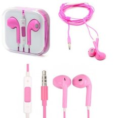 QC Handsfree iPhone For Headset iPhone / Earphone iPhone Model Stereo Volume  - Pink