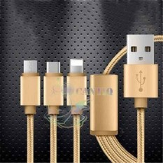 QCF Kabel Data 3in1 Cable 3in1 / Cable Data Lightning / Kabel Data Type C / Kabel Data Micro USB bisa buat charger dan transfer data Cable Data 3in1 - Gold