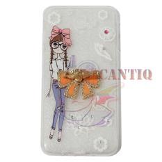 QCF Softcase Flower Untuk Samsung Galaxy J5 Prime Case Femininity & Shine Swarovsky Holder Ring Softshell / Jellycase / Silicone Case / Softcase Samsung - Holder Pita + Gadis kepang