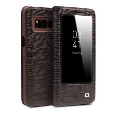 QIALINO Fashion Genuine Leather Case Cover Ultrathin Flip Bag Sleep Wake untuk Samsung Galaxy S8, Lizard Pola Strip-Intl