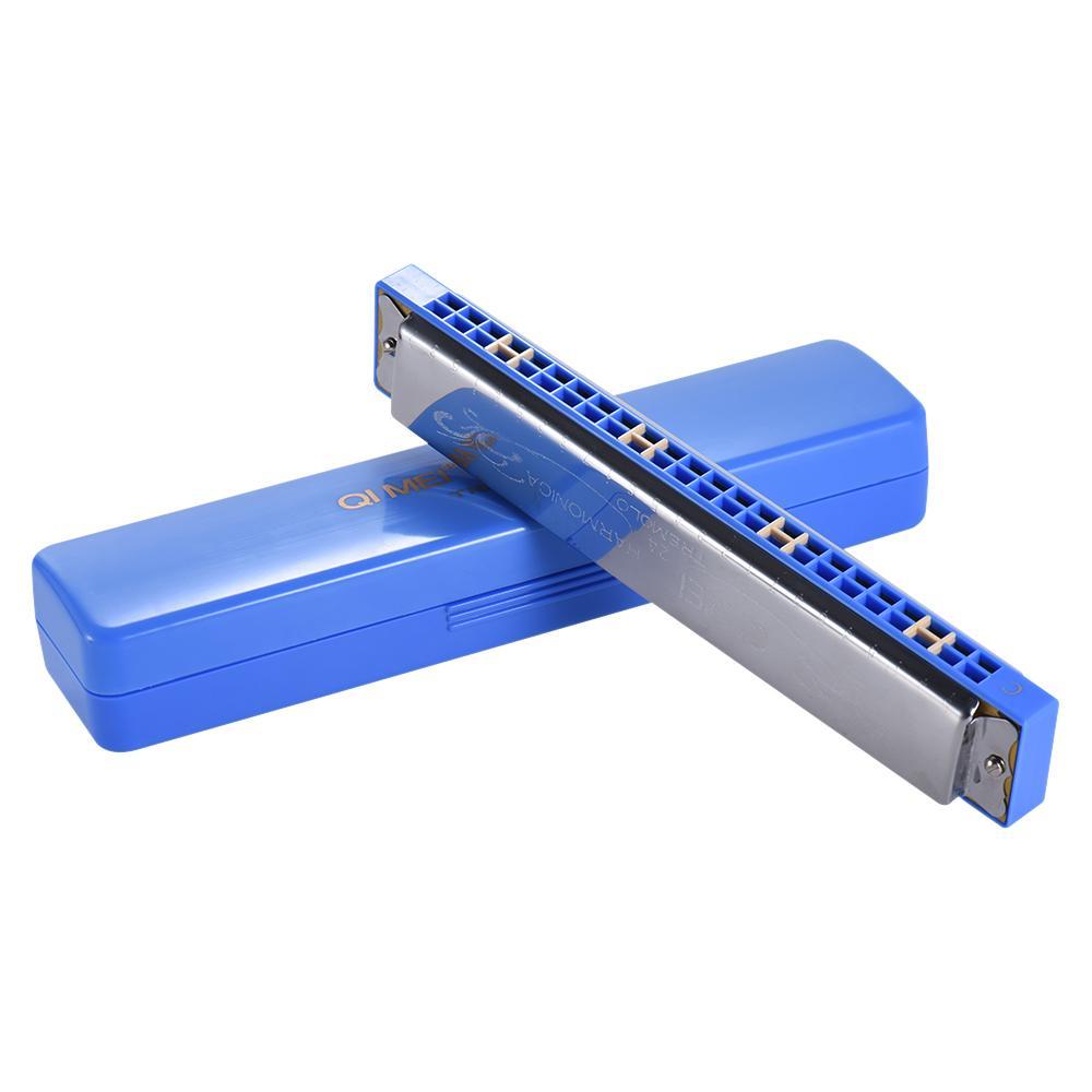 Ulasan Tentang Qimei Qm24A 3 24 Lubang Harmonika Tremolo Mulut Organ Kunci C Dengan Kotak Untuk Pelajar Pemula Biru Outdoorfree Intl