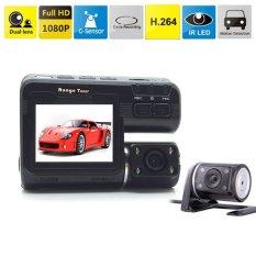 Qniglo Dua Lensa Mobil Kamera DVR I1000 Full HD 1080 P 2.0 Â?? LCD Dashcam + Kamera Belakang + 8 Lampu LED IR Modus Malam H.264 Perekam Video (Luar Negeri)-Intl