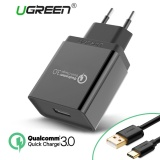 Review Terbaik Ugreen Quick Charge 3 For Huawei Mate 9 Huawei Mate 10 Type C 18W Usb Wall Charger Handphone Charger With Free 1Meter Type C Data Sync Charger Cable Black