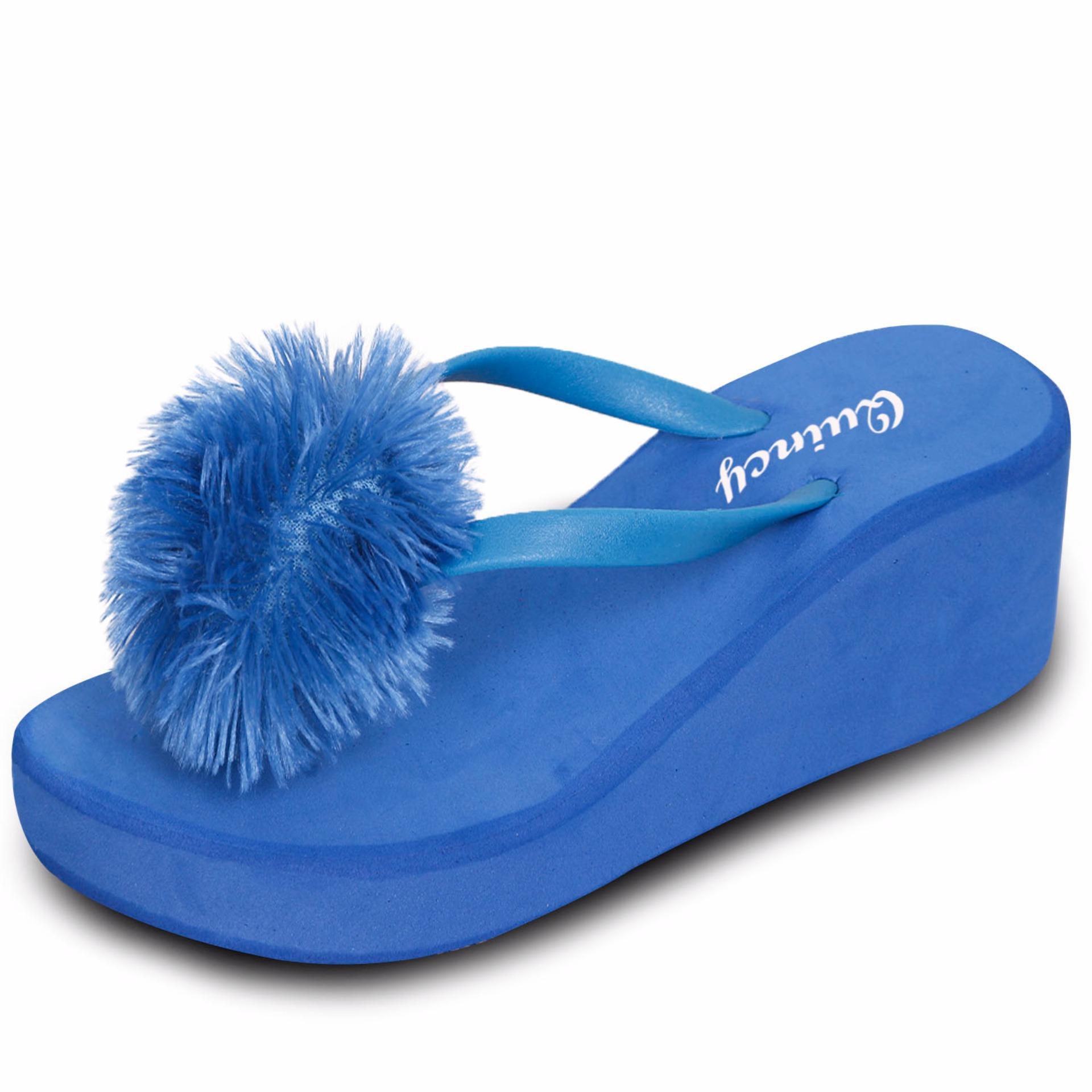 Harga Quincy Sandal Jepit Wedges Briana Blue Yg Bagus