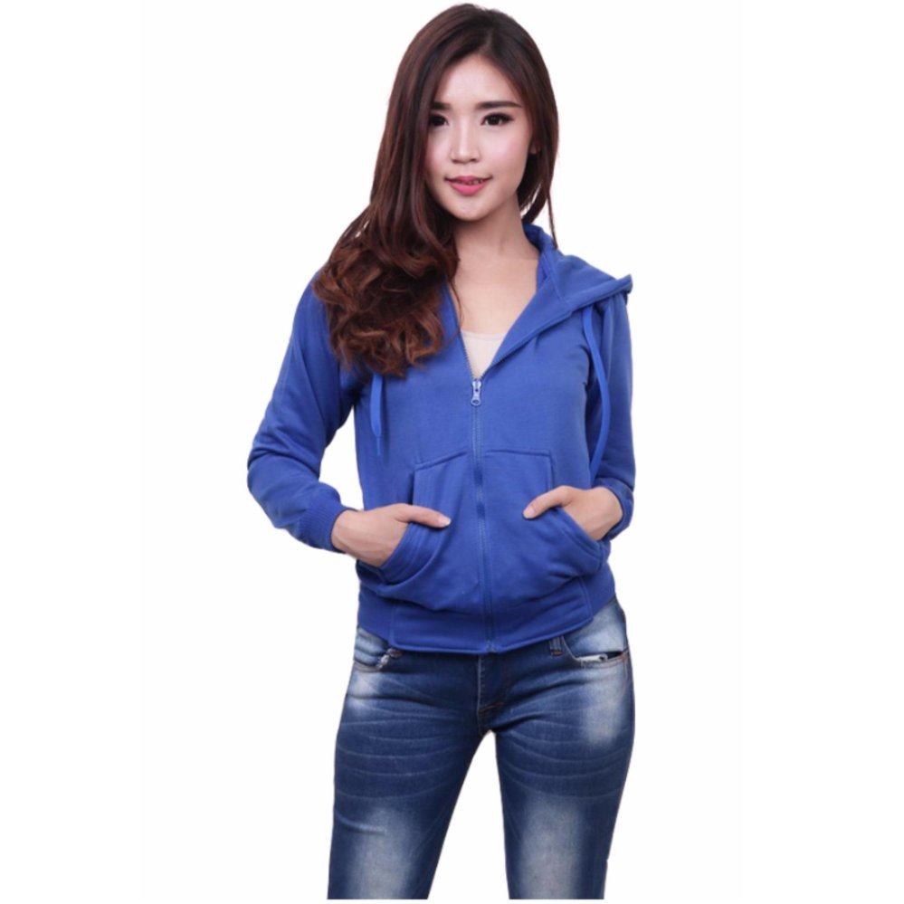 Quincy Jacket Zipper Hoodie Women Royal Blue Asli