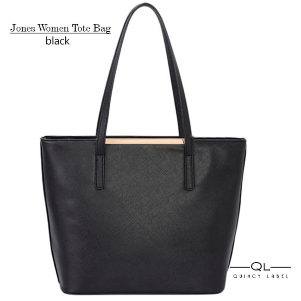 Jual Quincy Label Jones Women Tote Bag Black Jawa Barat Murah