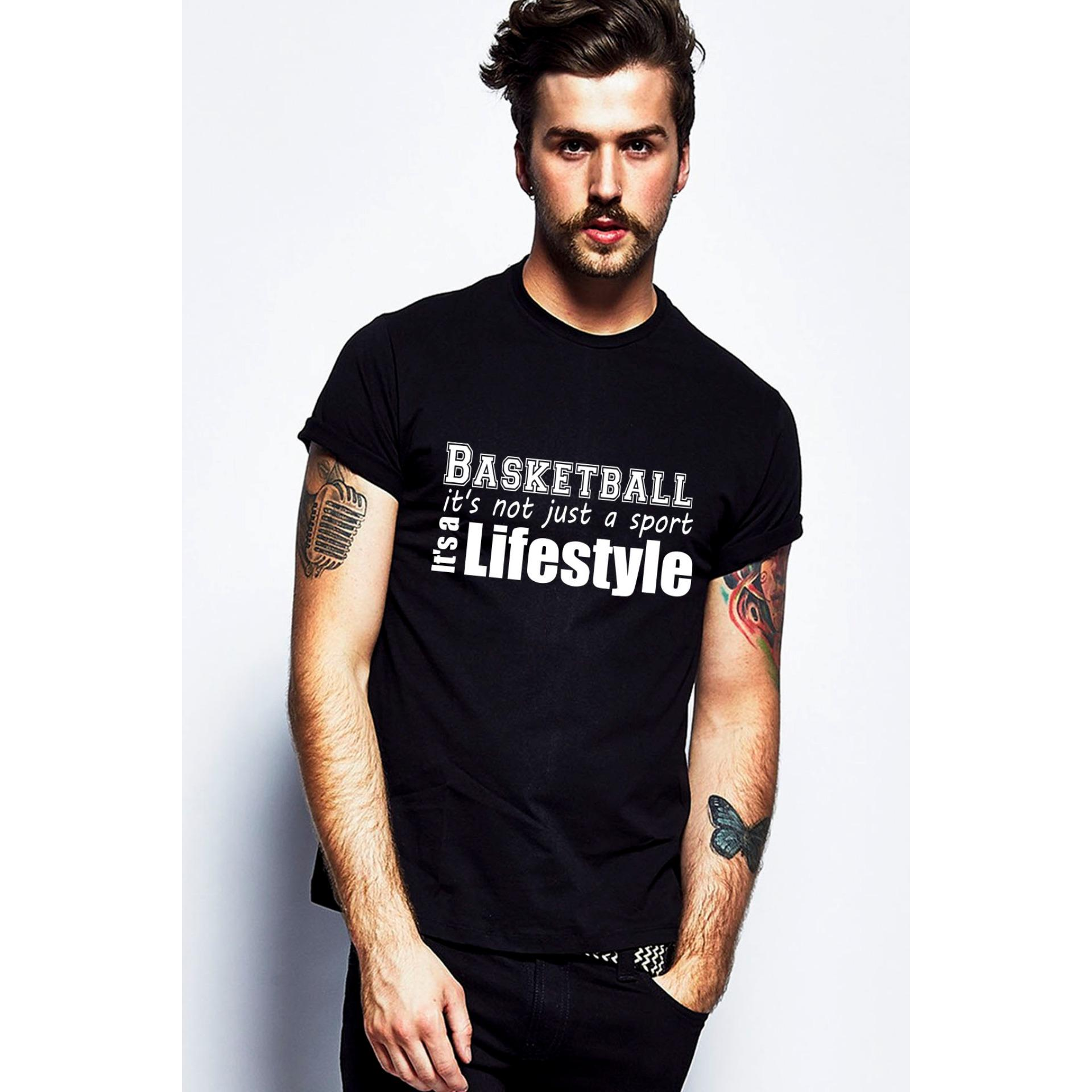 Quincy Label Kaos Print A-268 Basketball 4 - Black