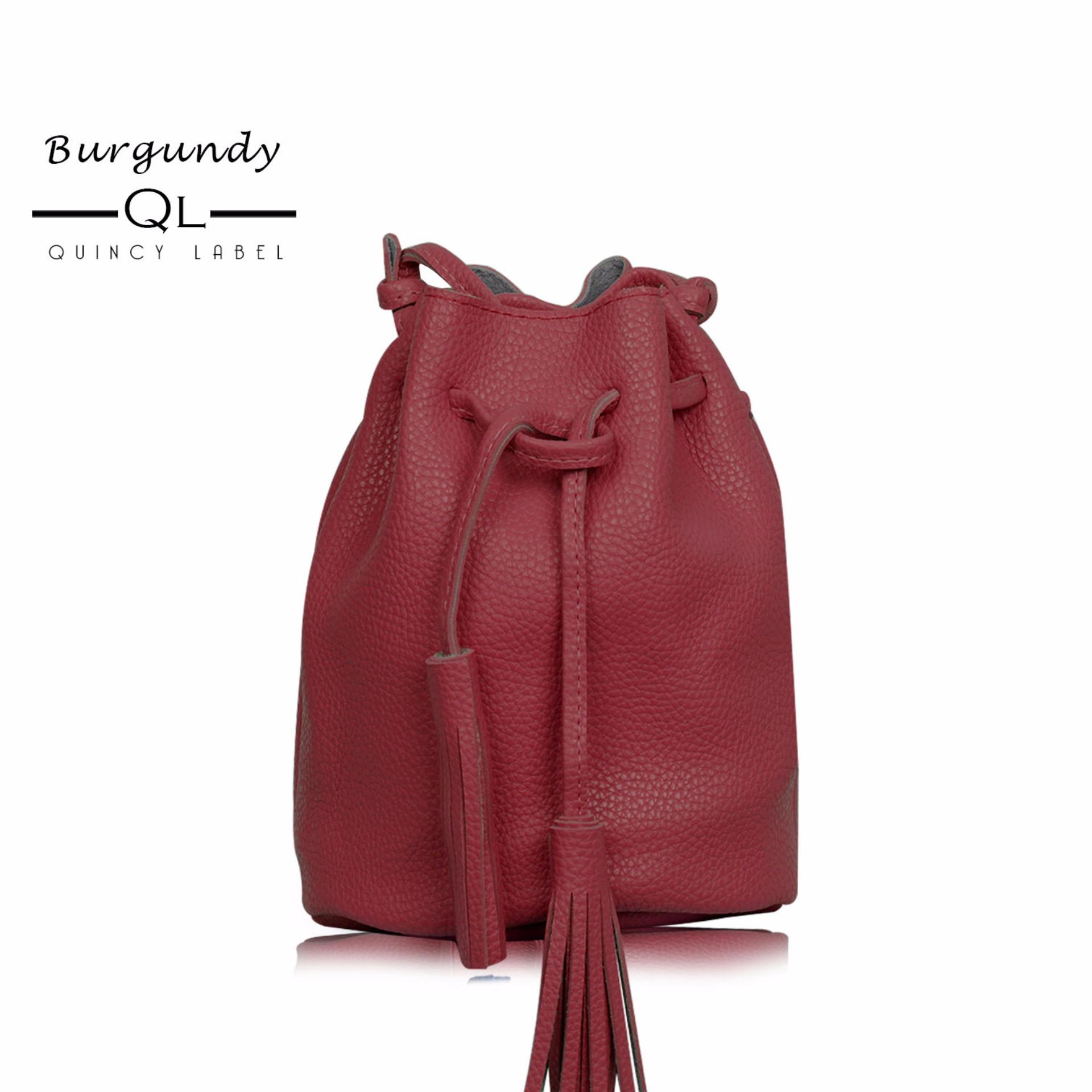 Beli Quincy Label Mayo Tassel Bucket Women Bag Burgandy Cicilan