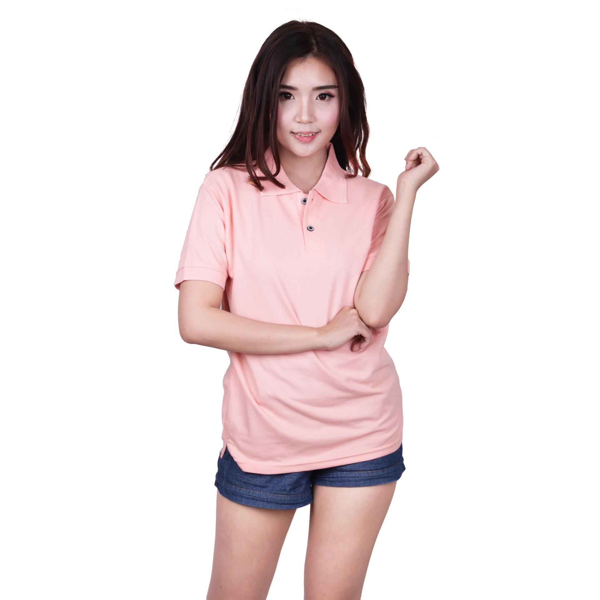 Jual Quincy Label Women Polo Shirt Peach Branded Original