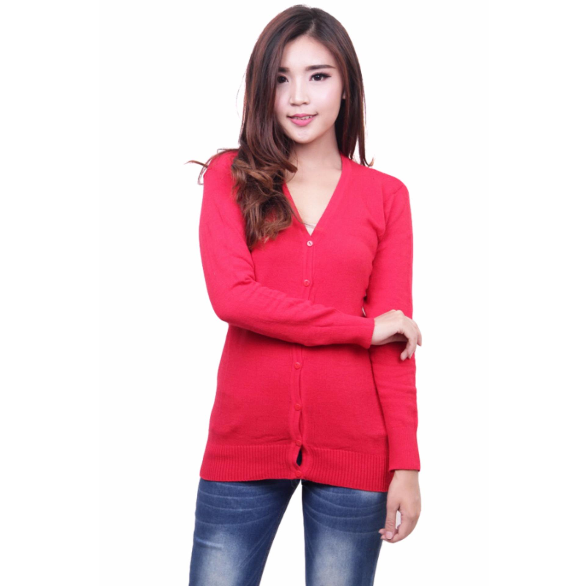 Jual Beli Online Quincylabel Basic Cardigan Red