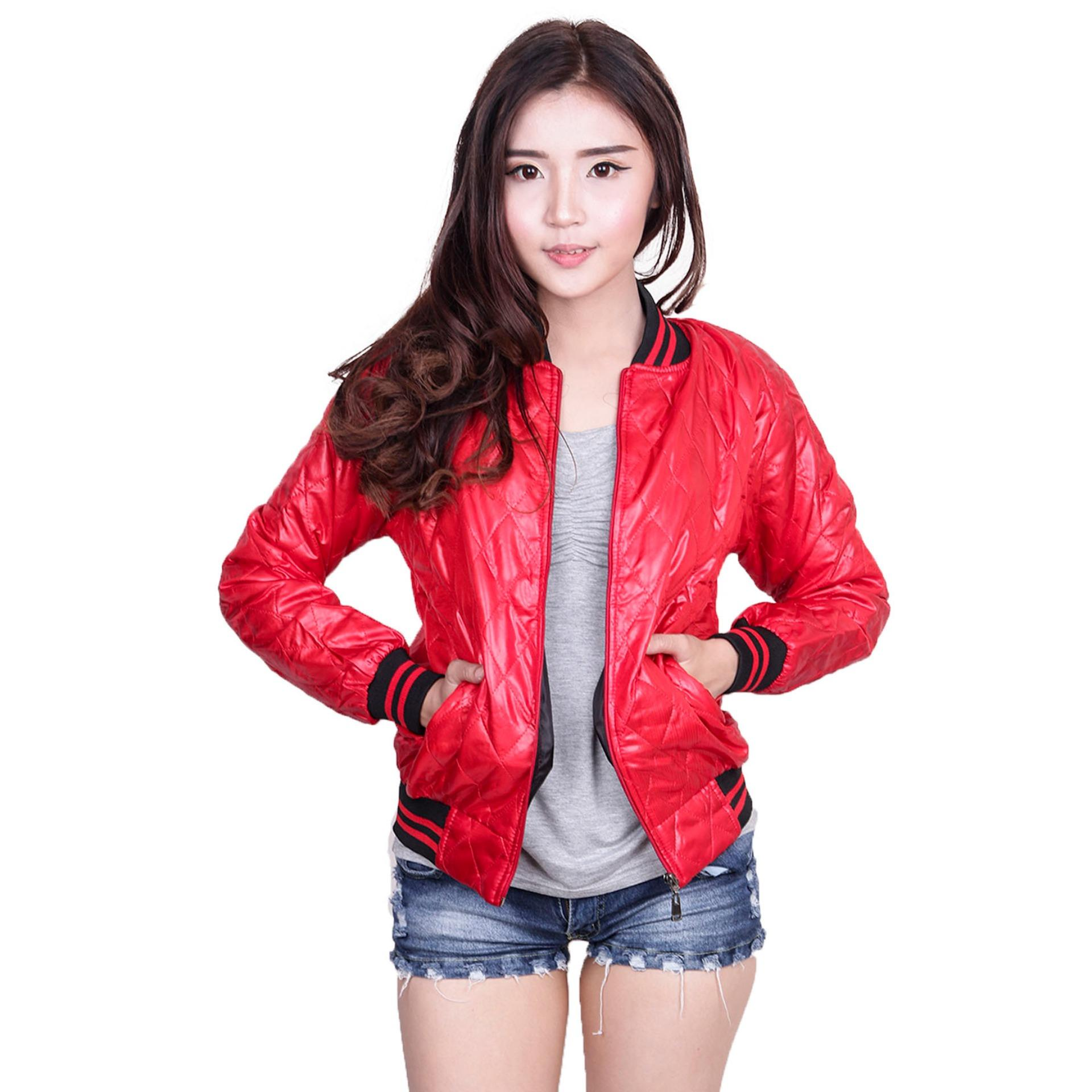 Obral Quincylabel Windbreaker Women Quilt Red Murah